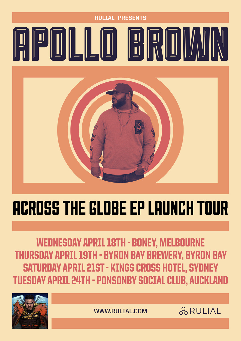 "APOLLO BROWN ""ACROSS THE GLOBE"" AUSTRALIA & NEW ZEALAND LAUNCH TOUR"